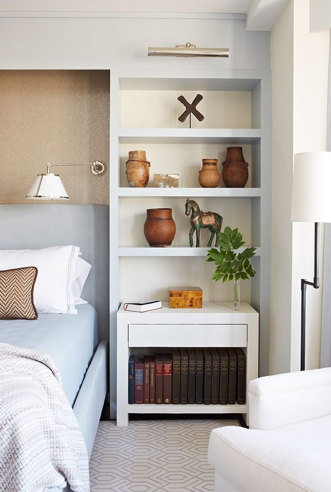 Built-in bookshelves in the bedroom.