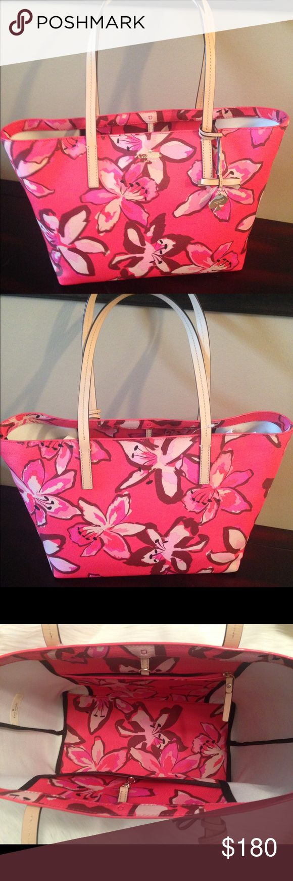 "NWT KATE SPADE HAWTHORNE LANE FLORAL SHOULDER BAG Authentic and Brand New, Large Kate Spade Hawthorne Lane Floral Shoulder Bag. Color- Surprise Coral, very spacious, has an inside zipper packet and three other inside packets. Measures 10""H X 12""L-bottom and 16""L-top X 6.5""W with a 9.5""H handle drop. NWT, no trades. kate spade Bags Shoulder Bags"
