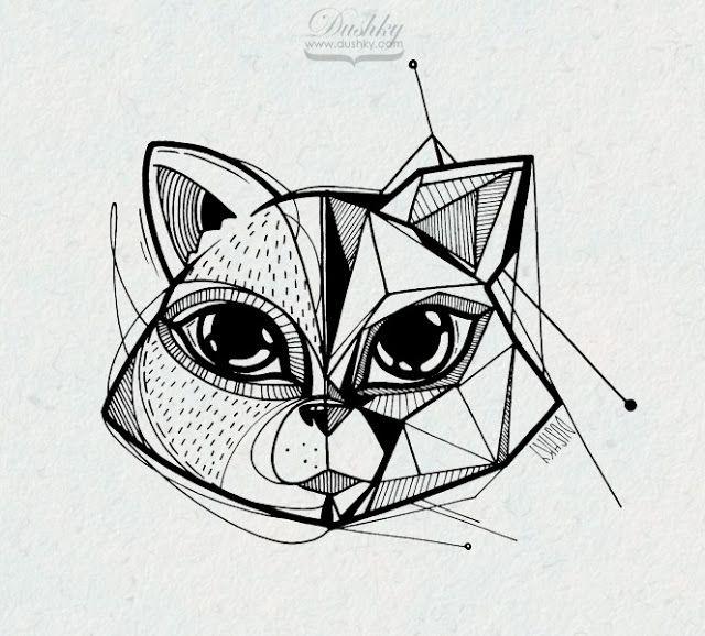 illustration by #dushky | #art #illustration #marker #drawing #cat #animal #geometric #tattoo #sticker #design