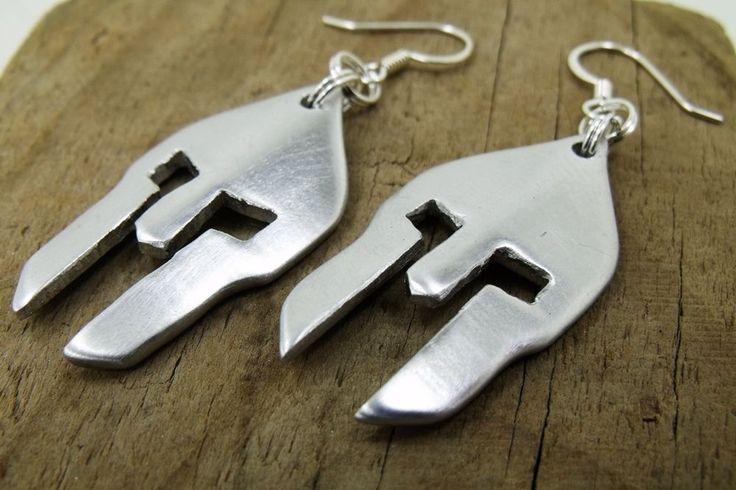 Spartan Helmet Aluminum Earrings - Perfect Handmade Gift from Greek Mythology #Handmade #ChainLink