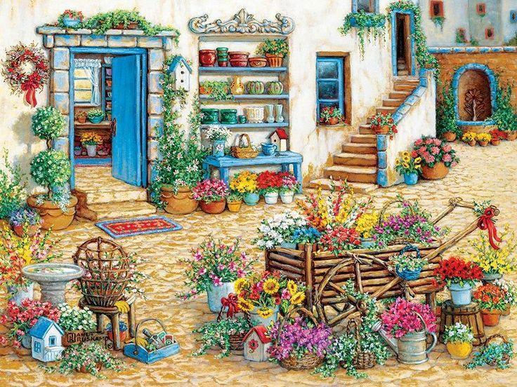 Puzzle COBBLE HILL 54344J. Kruskamp: Květinářství XL 275 dílků