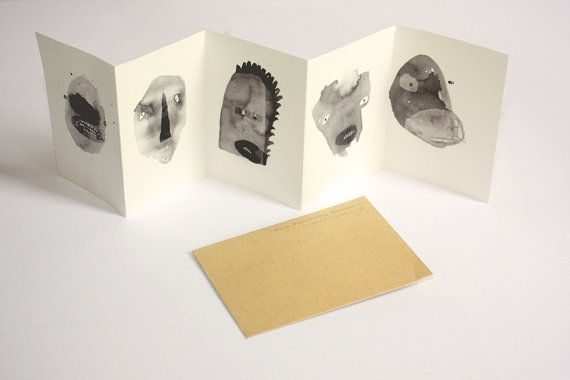 Mini concertina book / zine - Five Terrifying Monsters
