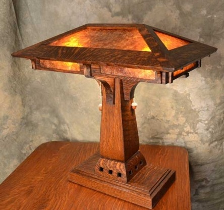 The Prairie Craftsman desk lamp in highly figured quarter-sawn white oak features real acorns on the pull chains. home-renovation-design
