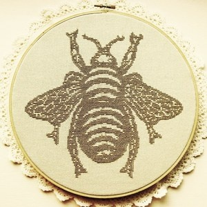 The Bee from What Delilah Did, seen on www.feelingstitchy.com Beautiful pattern!  I'm thinking of needlepointing it instead of cross stitching it.  Probably on 18ct mesh. $9