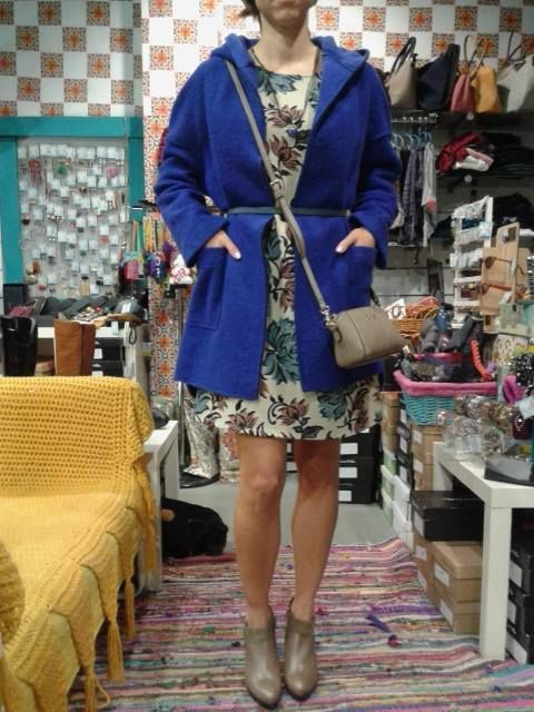 woolen coat Eleria Cortes + mini dress Purple Jam + ankle boots Patricia Miller + bag Kem by Papa k' Froufrou