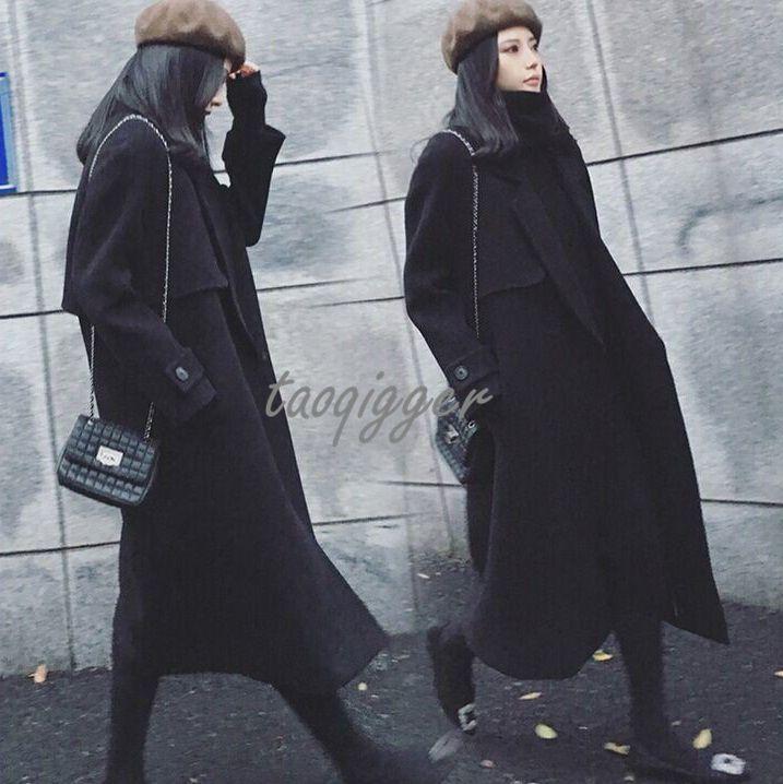 Womens Super Long Coat Cocoon Style Wool Blend Loose Fit Windbreaker Outwear