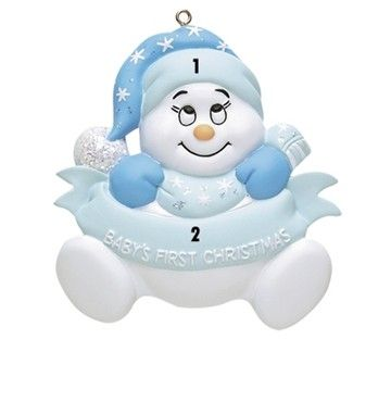 Baby BOY First Christmas Ornament Blue with words