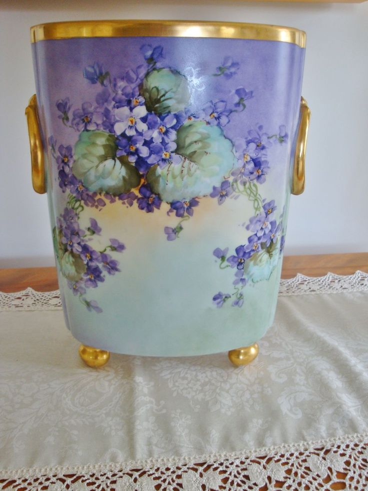 Antique Limoges France Hand Painted Porcelain Cachet Pot- Vase ~Gorgeous Pansies and Violets~