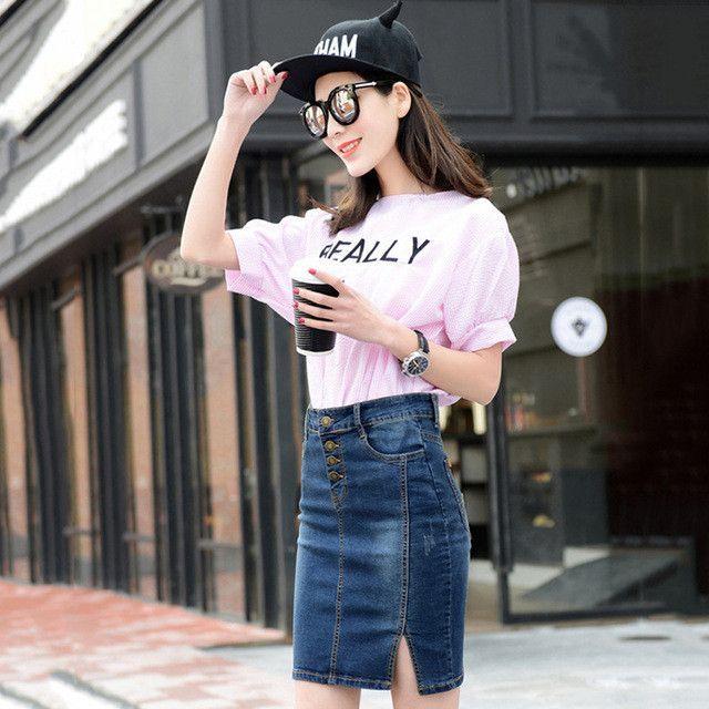 Women Slim Mini Denim Skirt