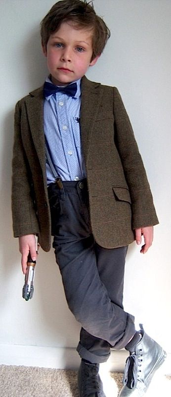 Junior Doctor Who costume! We will be looking for this next Halloween.