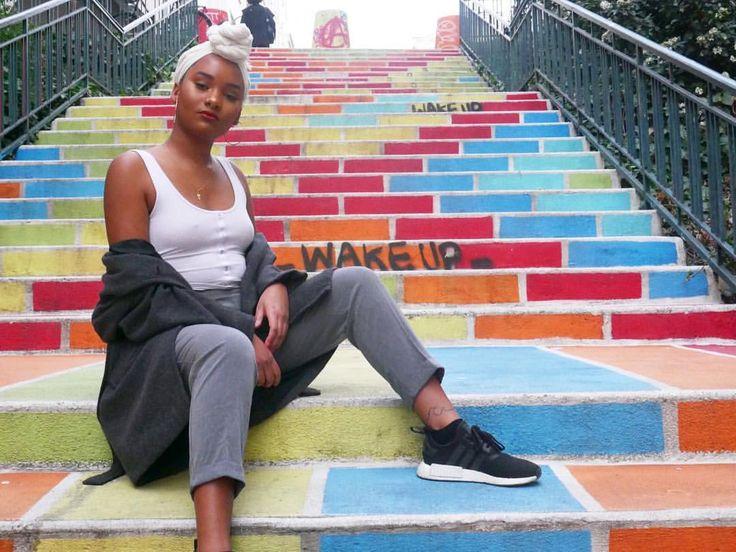 She screwed up my pic but I got the juice. : @floweence #blackgirlsrock #blackgirl #blackgirlsmagic #streetstyle #colorful #stares #adidas #caribbeangirls #colors #warmtones #turban #headwrap #marétèt