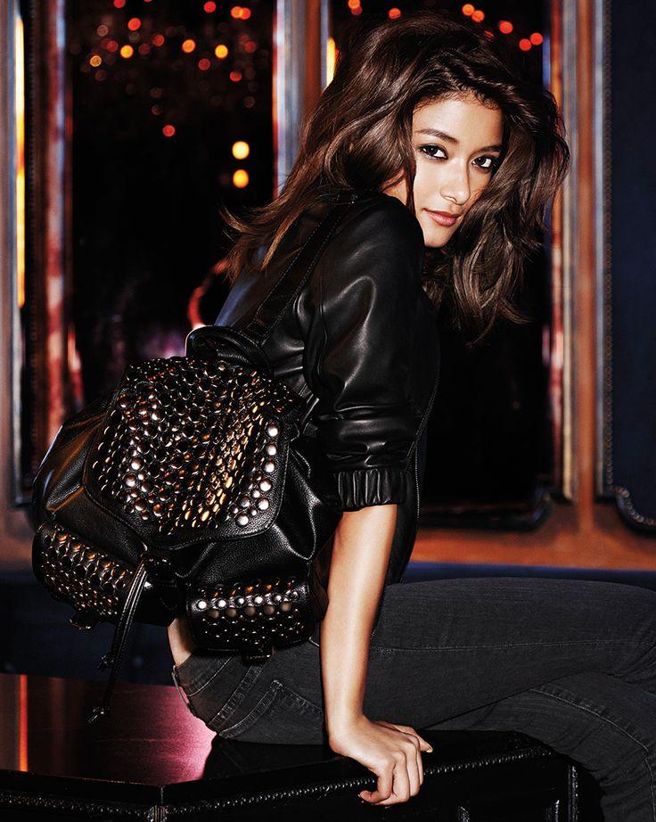 Royce Bomber in Black | Jane Skinny Jean in Dark Grey | Selena Backpack With Studs in Black