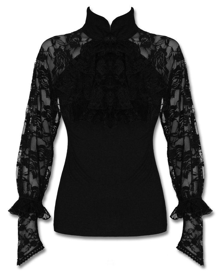 Punk Rave Mortifera Blouse Top Black Gothic Steampunk Lace Sleeve Jabot Vintage