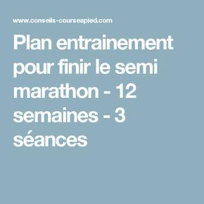 Plan entrainement pour finir le semi marathon - 12 semaines - 3 séances