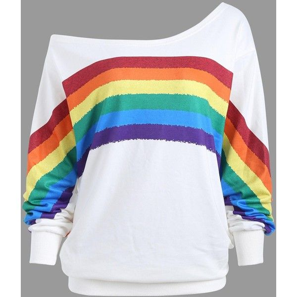 White 5xl Plus Size One Shoulder Rainbow Print Top (£8.11) ❤ liked on Polyvore featuring tops, off one shoulder tops, one sleeve top, plus size white tops, white top and plus size tops