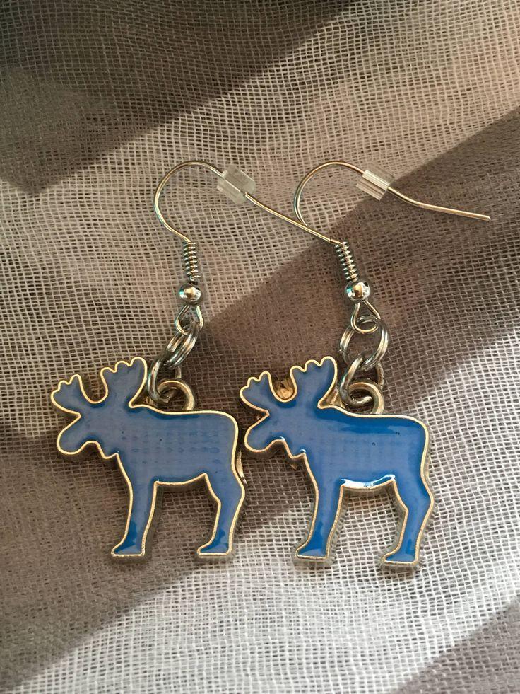 Handmade - Charm Earrings - Blue Moose - Fishhook Earrings - Charm Jewelry Earrings - Newfoundland and Labrador - Salty Air Inspirations by SaltyAirInspirations on Etsy https://www.etsy.com/ca/listing/551559129/handmade-charm-earrings-blue-moose
