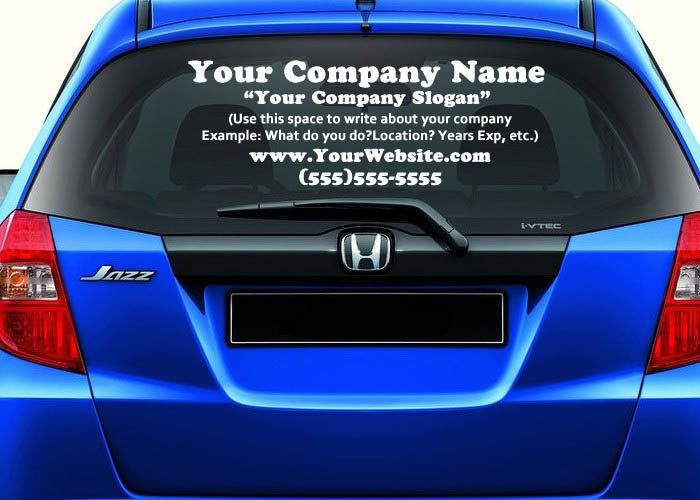 Business ad your company advertisement vinyl decal car rear window sticker by designsncustoms on etsy