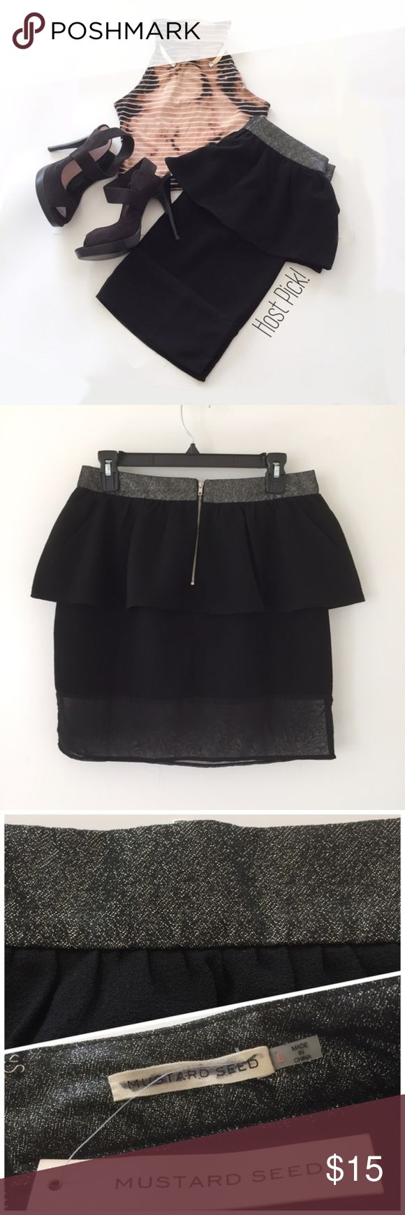 Black Peplum Skirt by Mustard Seed Black peplum skirt with sheer panel by Mustard Seed | Silver shimmery waistband | Tag still attached but inside tag crossed out as pictured | Size L Mustard Seed Skirts Mini