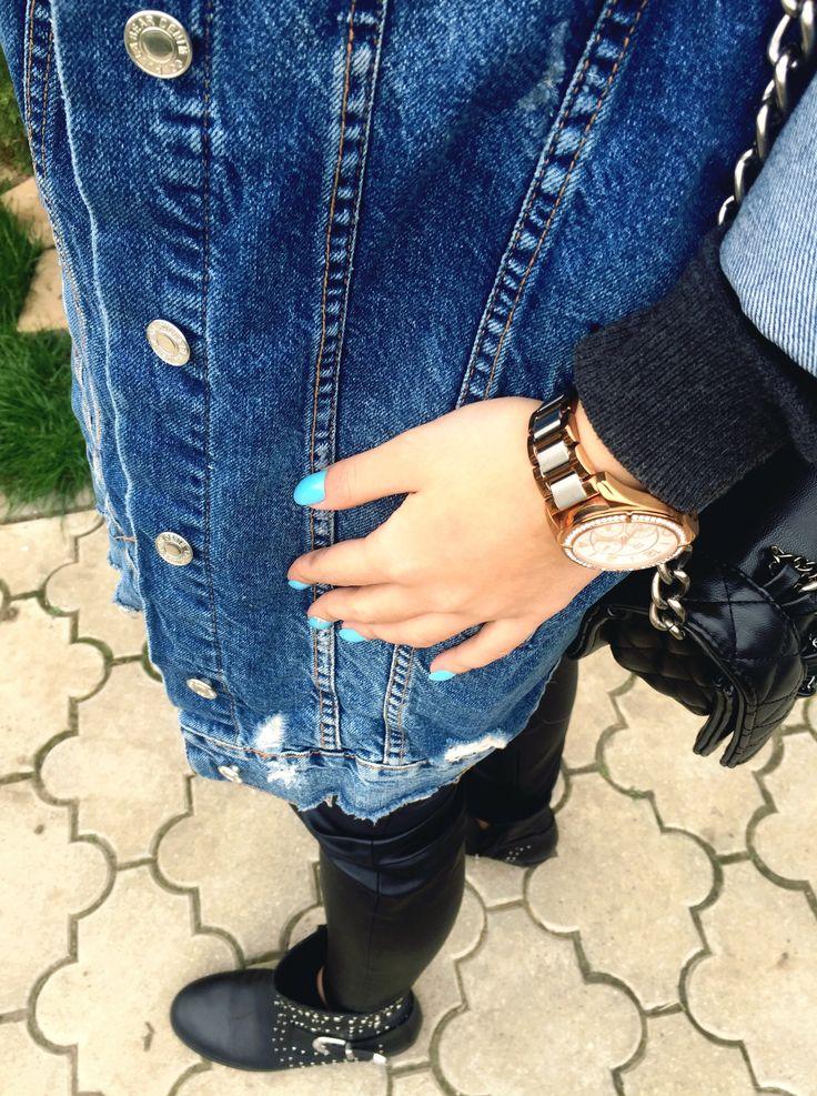 Today. #jeansjacket #bluenails
