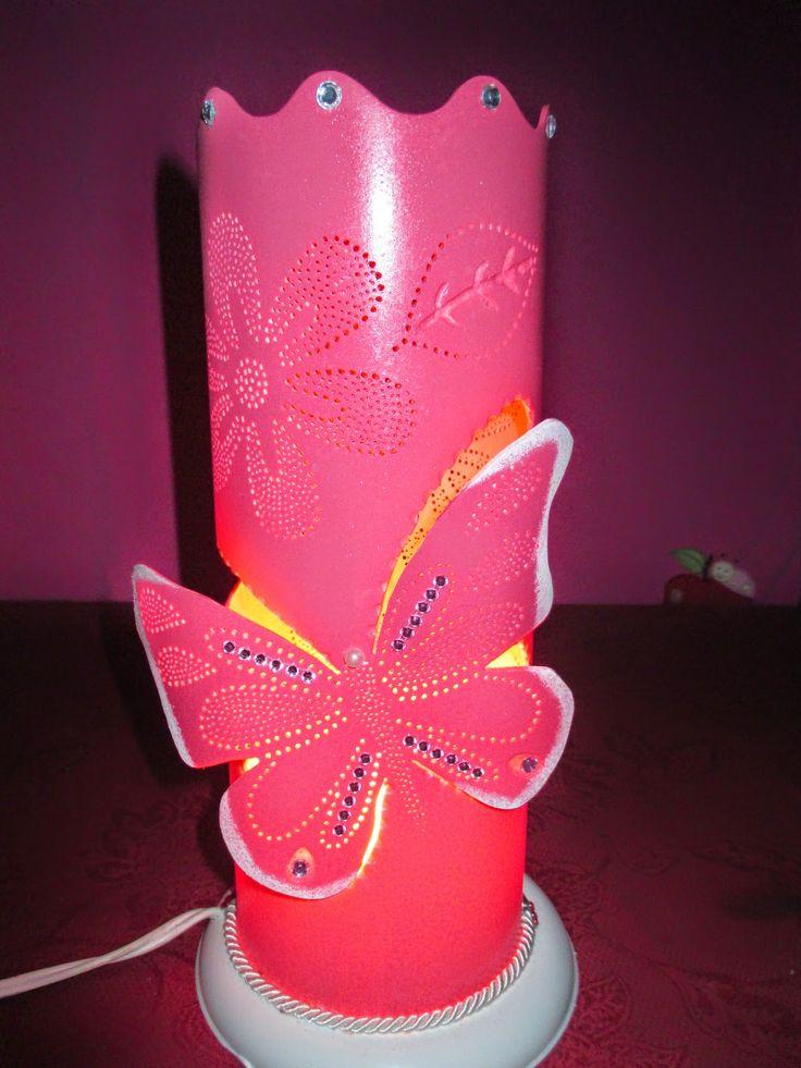 michele luminarias em pvc: luminária de borboleta rosa