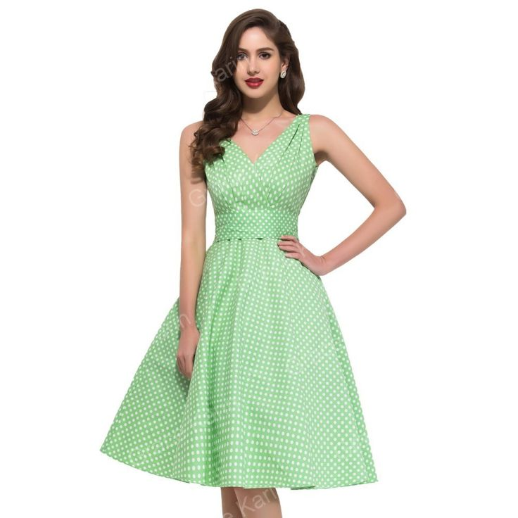 Mintgrünes Pünktchen Vintage Kleid