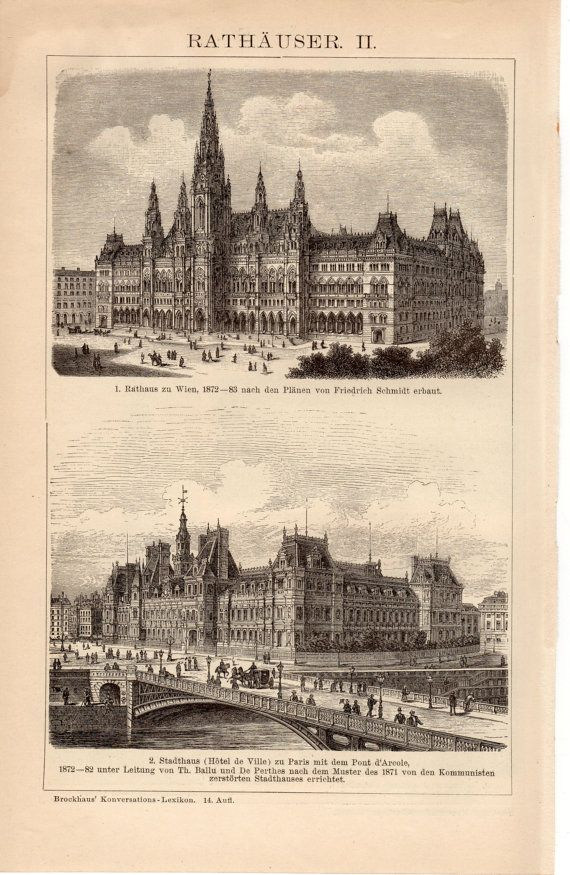 1895 Town Halls Antique Print Rathaus City Hall by Craftissimo, €12.95