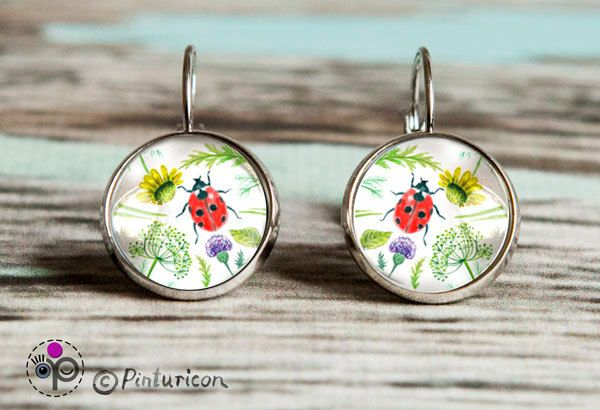 Glass cabochon Earring Meadow Earrings Dangle Earrings Floral Jewelry Flower Jewellry Ladybug by Pinturicon on Etsy