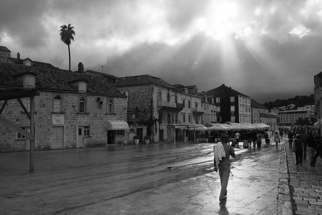 Hvrar - sun after the rain, Croatia in black & white