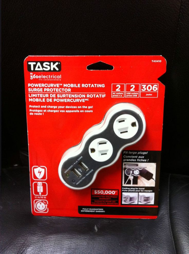 Task Tools POWERCURVE MOBILE ROTATING SURGE PROTECTOR T43410 2 AC outlets 2 USB