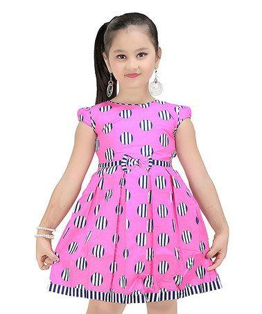 Pink & Black Polka Dot A-Line Dress - Toddler & Girls