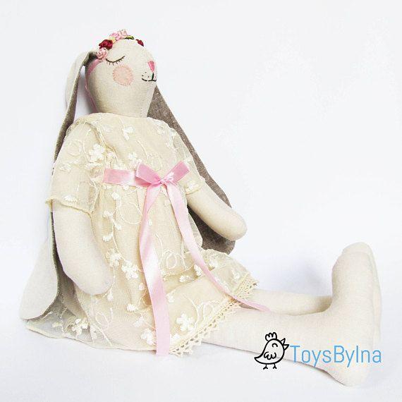 Stuffed bunny rabbit Rabbit rag doll Stuffed bunny toy #ToysByIna #stuffedanimal #ragdoll #bunnydoll