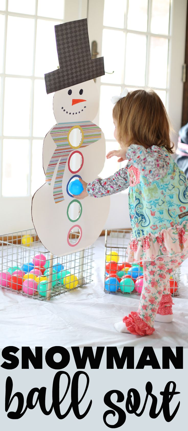 Snowman Ball Sort: The perfect way to keep toddlers busy in the winter while encouraging color recognition!