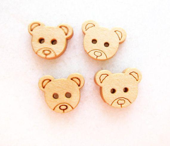 Cute Bear Head  Wood Buttons Children Buttons Sewing by nezoshop, $2.40