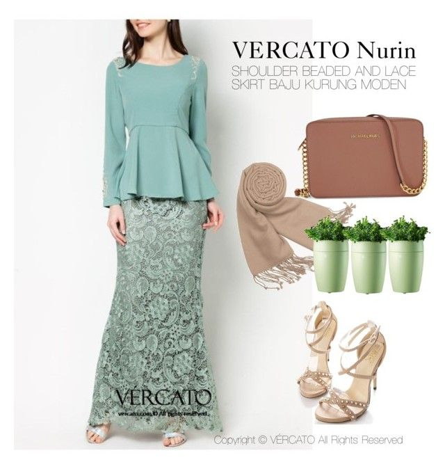 """VERCATO Nurin Baju Kurung Moden"" in green, black and also available in grey. SHOP NOW: http://www.vercato.com/VERCATO-NURIN-SHOULDER-BEADED-AND-LACE-SKIRT-BAJU-KURUNG"
