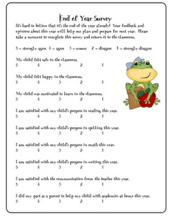 end of the year survey for parents. school. teacher. feedback. @Kristin Plucker Sheely @April Cochran-Smith Porter @Andrea / FICTILIS Benson What do you think about this on?