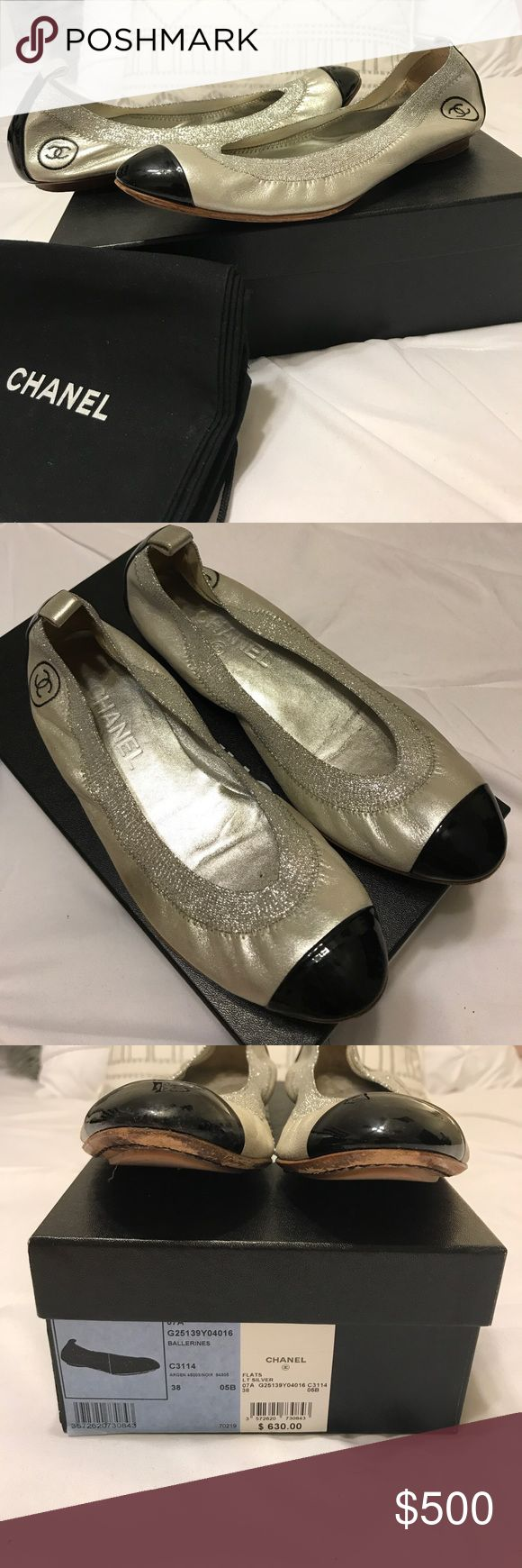 Chanel Iconic Ballerines Flats (Size 38) Gently worn / Paid $630 plus tax / Silver w. black cap toe and stretch detailing / See pictures for wear on bottom and toe - if you need additional pictures, please ask! / Size 38 - fits a 7.5 or 8 / Iconic style / Sold out / Comes with dustbags & box / Authentic / Comes from a smoke & pet free environment / Your purchase helps buy much needed school supplies for my students. / Please ask any questions, I'll get back to you ASAP! CHANEL Shoes Flats…