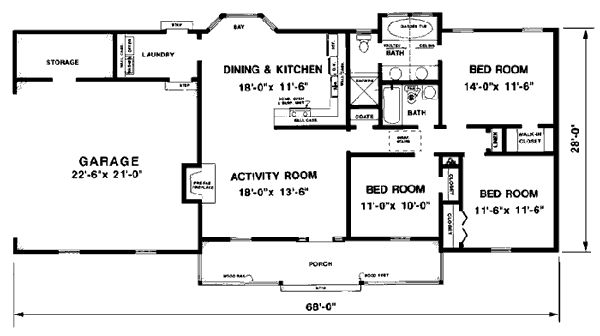 1300 sqft first floor plan of ranch house plan 94801 for 1300 sq ft house plans 2 story