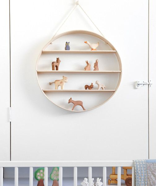 White Ash Circle Shelf - Three Tier - Limed Finish | Bride & Wolfe