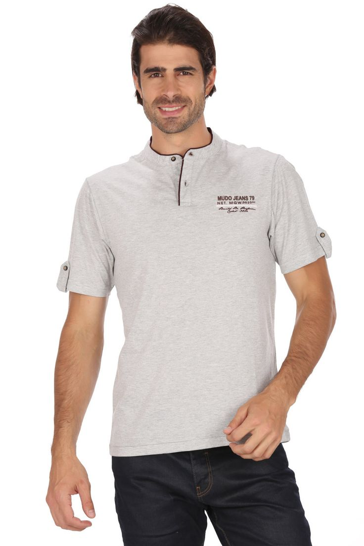 MUDO Solid Off White Fashion Henley Tee with Stylish Applique