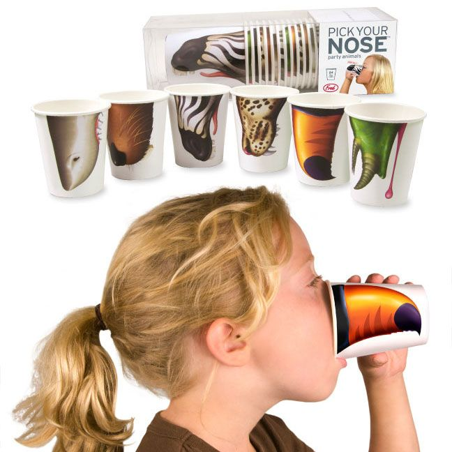 """Pick Your Nose"" party cups.  LOVE!!  Found them on Amazon for a pack of 24 for under $11.00"