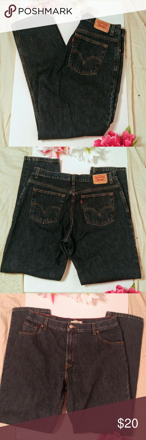 """Levis 550 Relaxed Tapered Jean Levis 550 Relaxed Tapered Jean Size 16L 17"""" flat lay waist measurement 32"""" inseam 100% cotton  Worn only a few times. Very good shape and true to size. Deep indigo blue wash.  Fast Shipping Cute Packaging Levi's Jeans Straight Leg"""