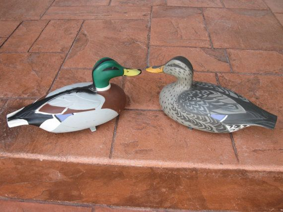 Pair Of Vintage Duck Decoys Victor D 9 Hard Plastic Drake