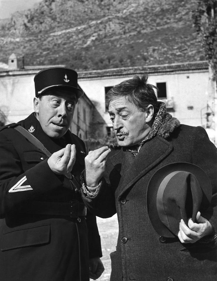 "Totò and Fernandel in ""La legge è legge""."