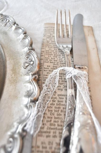 ❥ silverware tied with lace
