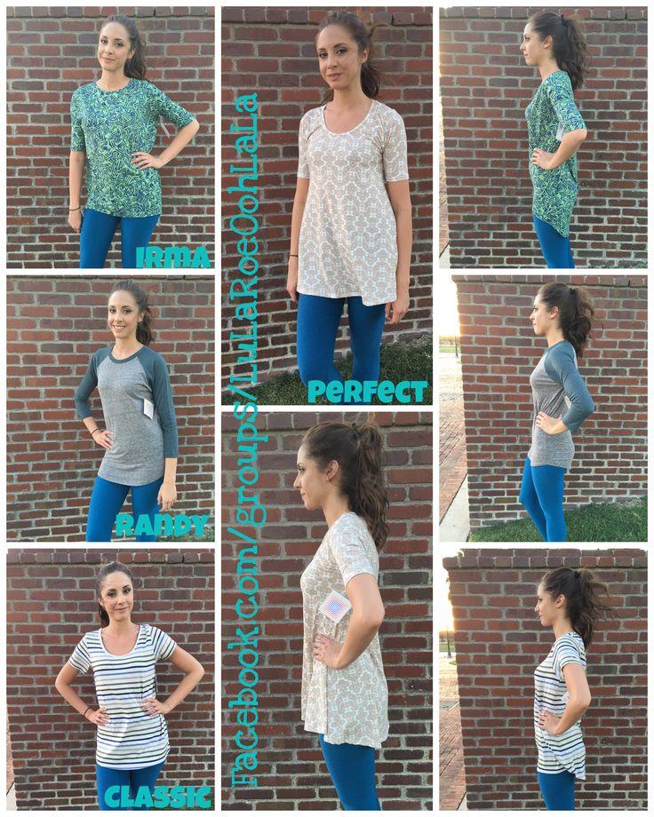 How do LuLaRoe Shirts fit? Check out the Classic, perfect, Irma and Randy! #lularoe #lularoeshirt #irma #randy #classic #perfect #style #lularoestyle #styling #fashion #ootd Facebook.com/LuLaRoeOohLaLa