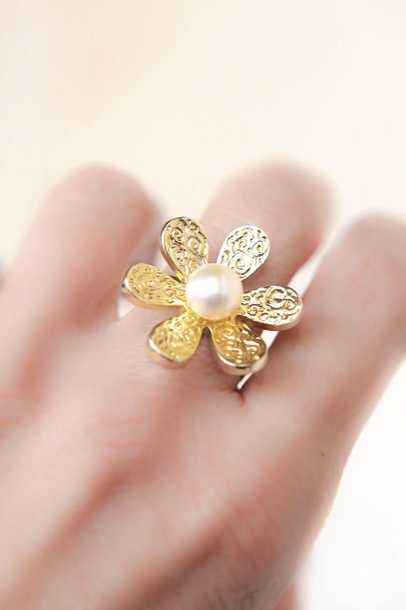 flower pearl ring  gold plated ring romantic ring  sterling