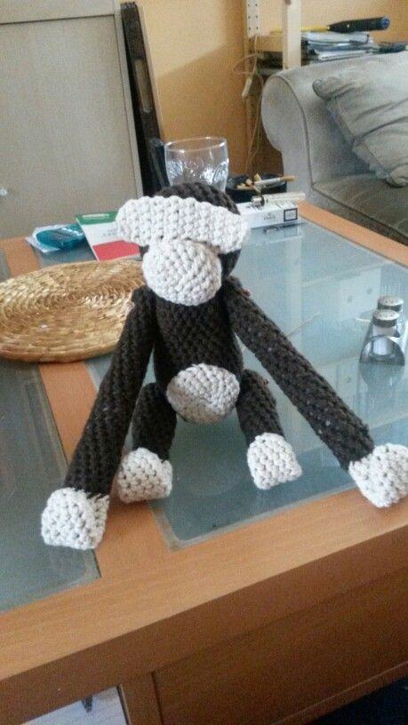 Hæklet kb abe uden øjne (crochet kb monkey without eyes)