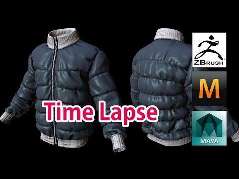 3D modeling Padding jumper (Zbrush, Marvelous Designer) Time Lapse - YouTube