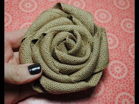 ▶ Stampin' Up Burlap Ribbon, Burlap Rolled Flower Tutorial - YouTube