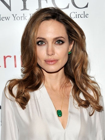 Angelina Jolie green necklace and earrings